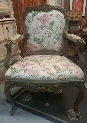 Exquisite Antique French Carved Armchair With Painted Finish Upholstered