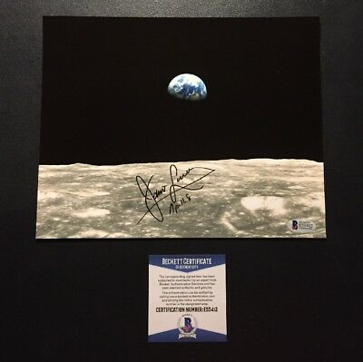 "Jim "" James "" Lovell Beckett Signed Photo With Rare Apollo 8 Ins 8x10"" Earthrise"