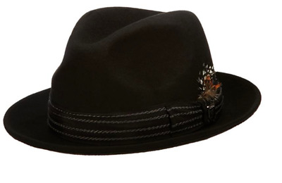 Stacy Adams Pinched Fedora With Stitched Band Black Men s Hat Size Small  Chico 9a49454e5c5c