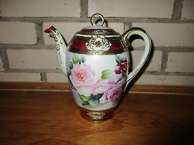 Antique Nippon Japanese Asian Porcelain Hand Painted Flower Gilded Teapot w/ Lid