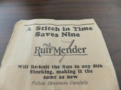 Run Mender: Re-knit run women's silk stocking 1928 original tool & instructions