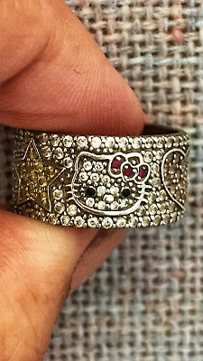 Hello Kitty Sanrio Women's CZ Sterling Silver Wide Band Ring