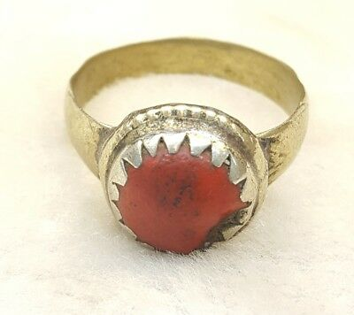 Beautiful Morocco Design Antique Silver Lovely Ring With Rare Old Coral  # M C 1
