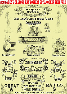 Old West Wanted Poster Saloon Bordello Brothel Club Social Parlor Prostitute Bar