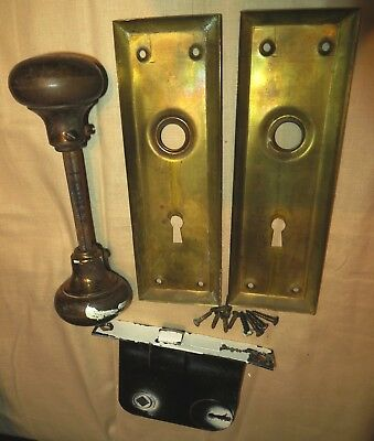 Vintage Pair Brass Door Knobs with Face Plates and Mortise