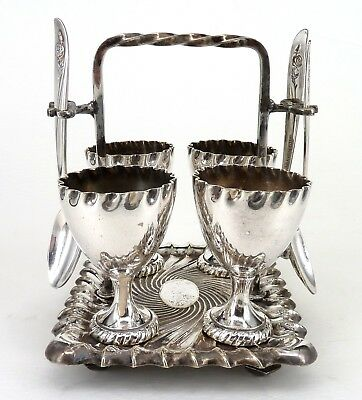 Silver Art Nouveau Style 4 Egg Cup Set With Stand & Spoons