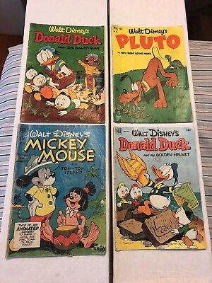 1950's Four Color Lot #'s 304, 408, 422, 429 - Mickey Mouse, Donald Duck, Pluto