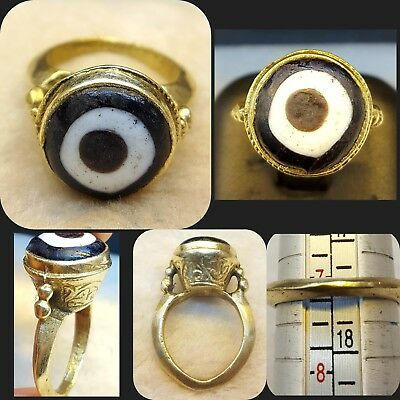 Beautiful Rare And Unique Antique Gabree Eye Old Gold Gulied Lovely Ring # EGR 1