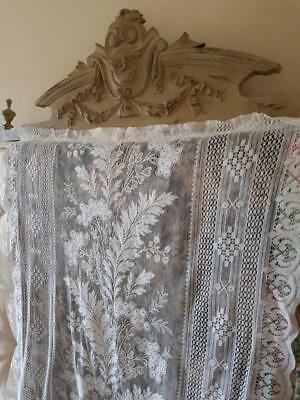 Pretty Single Antique French Scollop Sided Floral Panelled Lace Curtain c.1920's