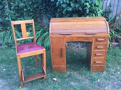 Vintage Small Roll Top Desk & Chair (with foot rest)