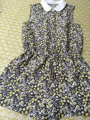 Girls Grey and Yellow ditsy print short playsuit from NEXT - age 12 years