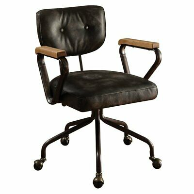 Bowery Hill Leather Swivel Office Chair in Vintage Black