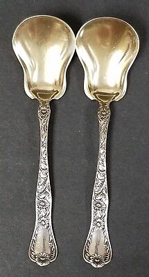 2 Antique Gorham Marguerite Sterling Silver Sugar Shell Spoons Gold Wash Bowls C