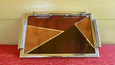 Vintage Art Deco Serving Tray Chrome Wood Awesome Design