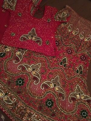 Bridal Pakistani/ Indian Wedding Walima Bridal Party Lengha Outfit Red