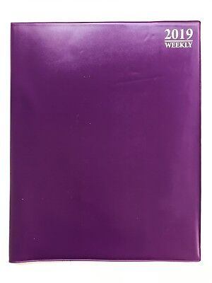 """2019 PURPLE WEEKLY Daily Planner Appointment Book Calender Organizer 8"""" x 10"""""""