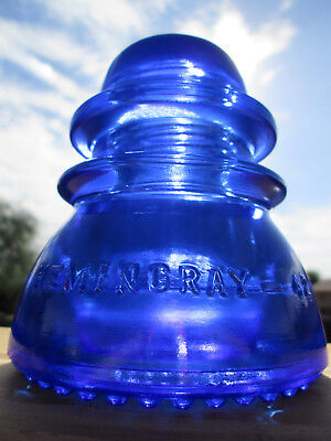 Vintage Hemingray 42 Cobalt Blue Glass Insulator Colored / Stained CD 154