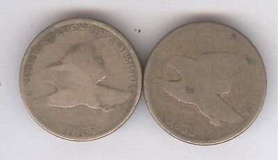 Lot of 2 - Flying Eagle Cents + 1857 & 1858 + No Reserve!!