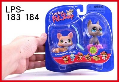 Littlest Pet Shop Pet Pairs Collectible LPS toy Set great dane #184 and dog #183