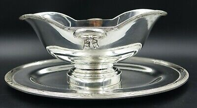French Christofle Rubans Silver Plated Sauce Gravy Boat Attached Underplate