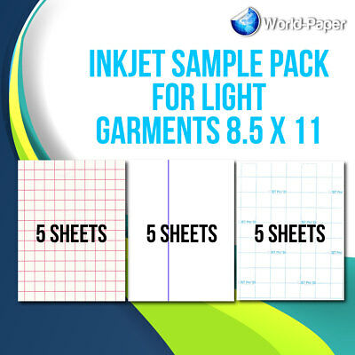 "Heat Transfer Paper Inkjet Sample Pack For Light Garments 8.5""x11"""