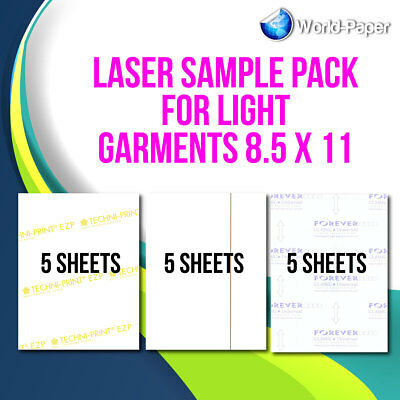 "Heat Transfer Paper Laser Sample Pack For Light Garments 8.5""x11"""