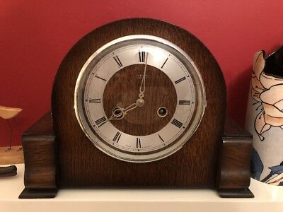 Art Deco Vintage Smiths Enfield Wooden Striking Mantle Clock,