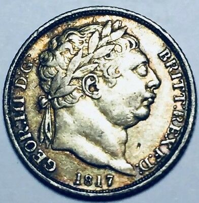 GB . King George III .1817 . Sixpence . Nice Coin. Uncleaned .