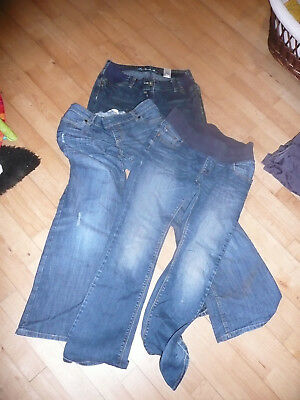 Three Pairs Bundle Maternity Jeans Trousers Size 10