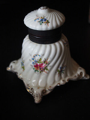 Antique SCHUTZ MARKE German Footed Swirl Fluted Floral Hand Painted Inkwell