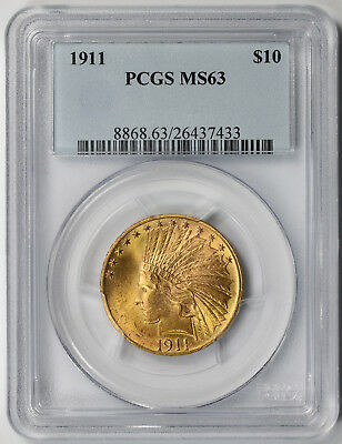 1911 Indian Head Gold Eagle $10 MS 63 PCGS