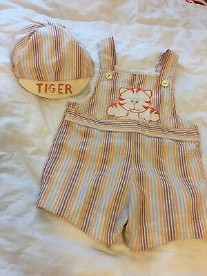 Vintage Baby Boy Bib Outfit With Matching Hat By A Tiny Tots Original