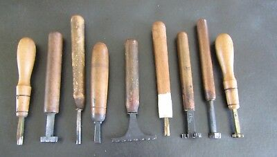 9-Brass Leather Bokbindibg Tool Stamps Unnamed, Hoole & F. Klement Leipzig