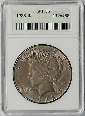 1928 $1 ANACS/Small Holder AU 55 (Key Date) Peace Silver Dollar