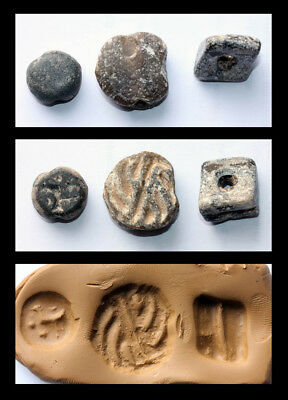 *sc*lot Of Three Nice Stone Stamps, Mesopotamian & Lavante!