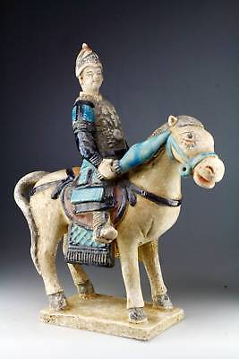 *SC* CHINESE MING DYNASTY TOMB POTTERY FIGURE OF MILITARY HORSE RIDER w. SWORDS!