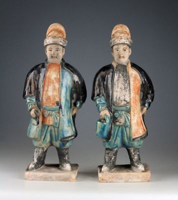 *sc* A Superb Pair Of Chinese Pottery Attendants , Ming Dynasty!