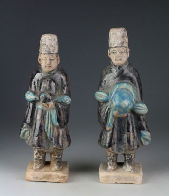 *sc*a Pair Of Chinese Ming Dynasty Pottery Attendants, 1368-1644!