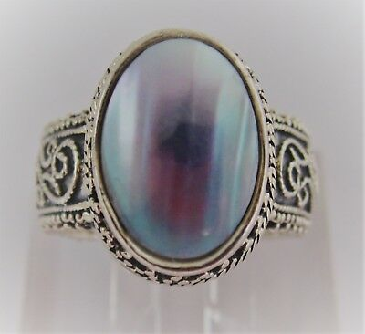 Vintage Sterling Silver And Abalone Ring W/ Granulation & Filigree Applique