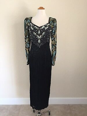 True Vintage Sequin Pearl Beaded Gown Formal Cocktail Dress