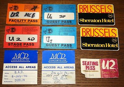 U2 SMALL BUNDLE OF AUTHENTIC UNIDENTIFIED BACK STAGE PASSES EARLY 1980s