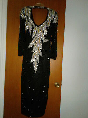 """Vintage """"lillie Rubin"""" 100% Silk Hand Beaded & Sequenced Formal Evening Gown"""