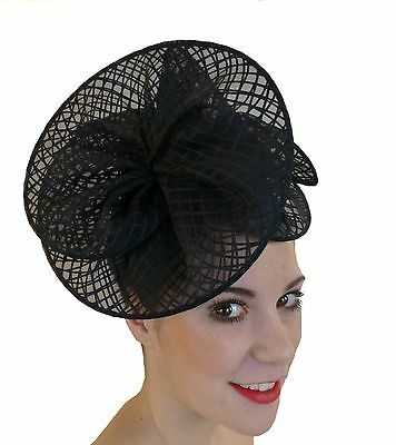 Black Fascinator Ruffles Hat Races Wedding Melbourne Cup Derby Day