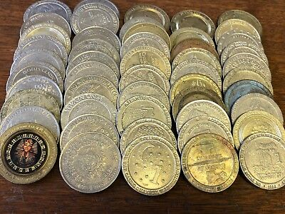 50 x Casino Dollars, Variety of $1 vintage casino gambling slot tokens lot #19