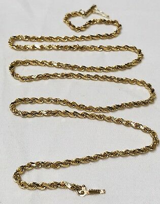 "14k Yellow Gold Rope Necklace 4.14G Wearable Or Scrap MINT CONDITION 20"" Length"