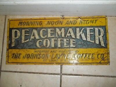 rare find! antique tin peacemaker coffee sign johnson layne co, st.louis mo