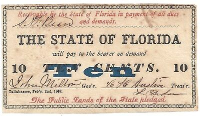 The State of Florida 10c Fractional Note 1863