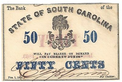 State of South Carolina 50c Fractional Note 1863