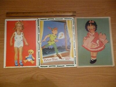 1950's Sewing Cards Paper Dolls Peter Pan Disney, Raggedy Anne Shirley Temple