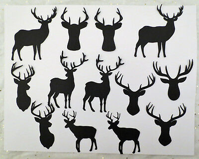 Reindeer Deer Christmas Winter Silhouette Cardstock Die Cut 13 pcs Scrapbook